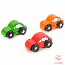 Autó (piros, zöld, narancs) vasútkészlethez