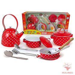 Konyhai edénykészlet - 12 részes, piros, fehér pöttyös