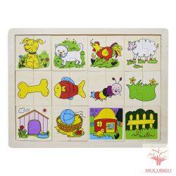 Felező kirakó / puzzle - állatos