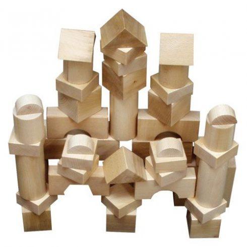 Óriás építőkocka  44db - natúr 7 cm-es
