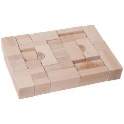 Építőkocka 35db - natúr 4 cm-es