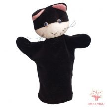 Báb - fekete cica, 3 ujjas, plüss
