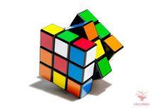 Rubik kocka 3x3x3, kék dobozos