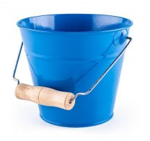 Fém homokozó vödör fa fogantyúval - kék