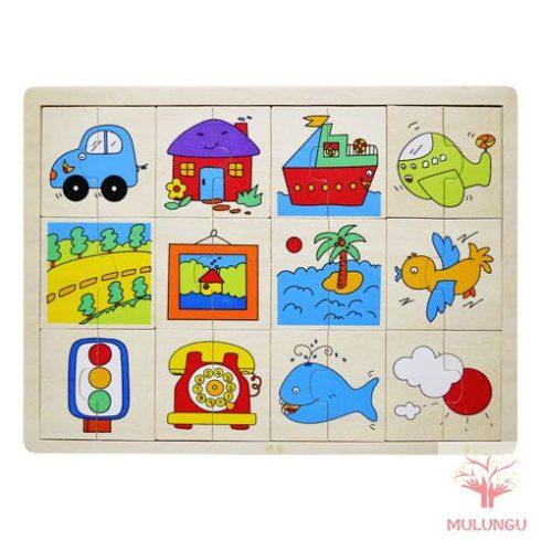 Felező kirakó / puzzle - járműves
